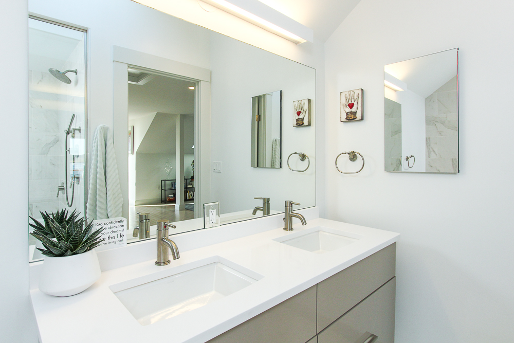 Main bath with double sinks 266 Merrimac Street Newburyport Massachusetts - Unit D