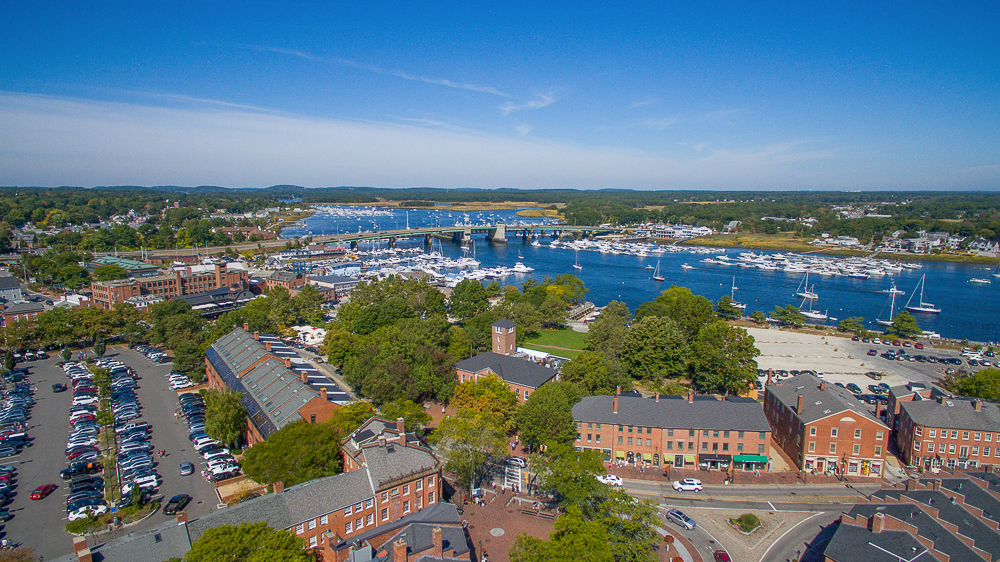 Aerial view of downtown Newburyport MA and the Merrimac river