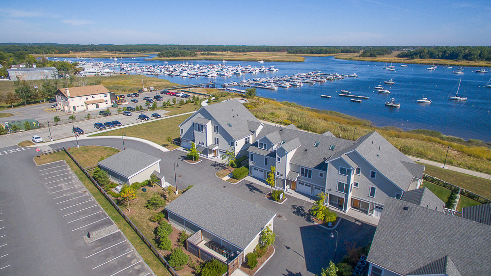 Aerial view of The Landing Condo complex Newburyport MA