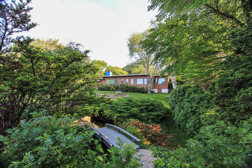 Bath view of the house with garden bridge in front 27 Edgemoor Road Gloucester MA