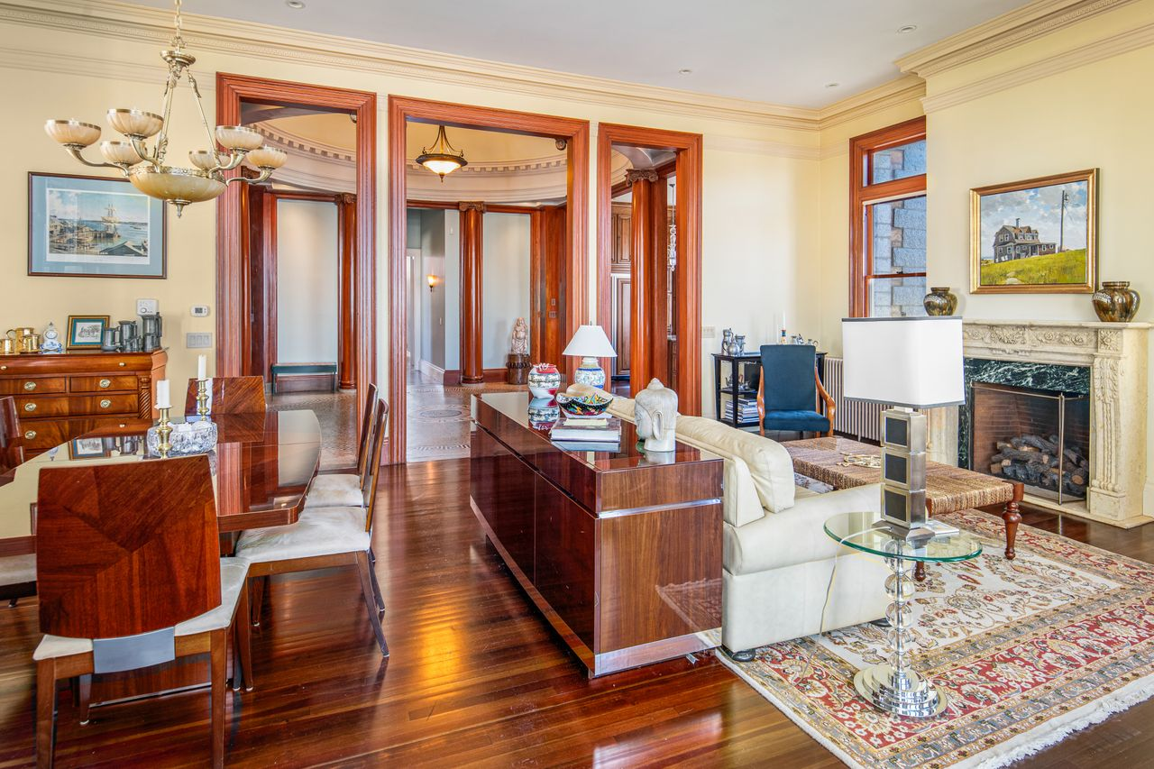 Dining room and living room looking toward rotundra 18 Jewett Street Rockport MA