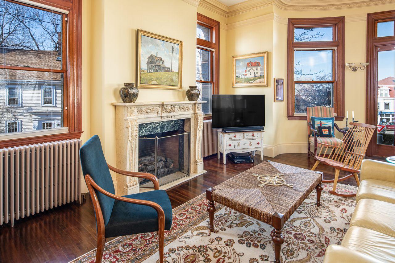Fireplace in Living Room 18 Jewett Street Rockport MA