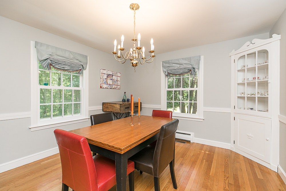 Dining room with built-in cabinet 85 Perkins Row Topsfield MA