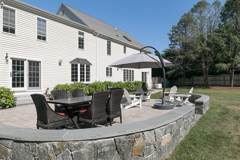 Patio with stone wall 10 Farrington Lane Hamilton Massachusetts