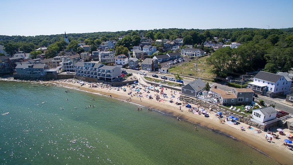Aerial Front Beach Rockport Massachusetts