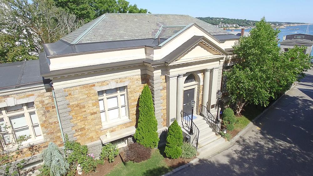 Aerial front with water 18 Jewett Street Rockport Massachusetts