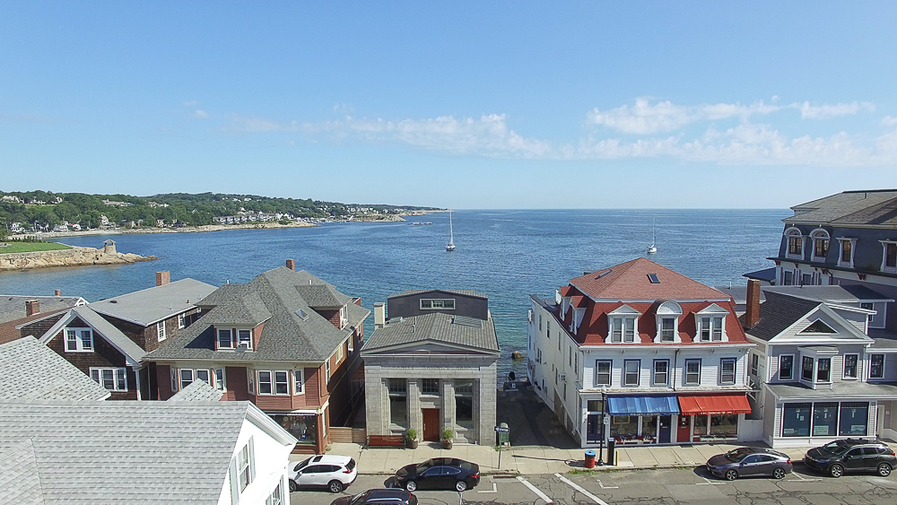 Aerial looking out towrds water at 18 Jewett Street Rockport Massachusetts