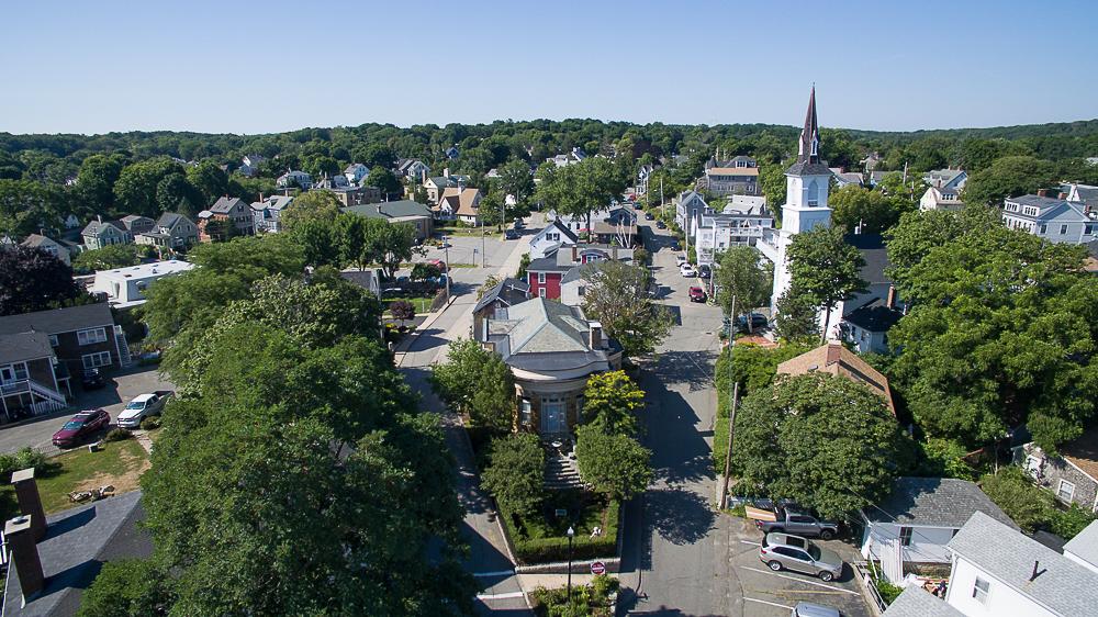 Aerial neighborhood of 18 Jewett Street Rockport Massachusetts