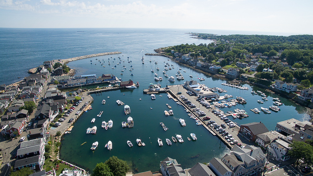 Aerial Rockport Harbor and Ocean Rockport Massachusetts