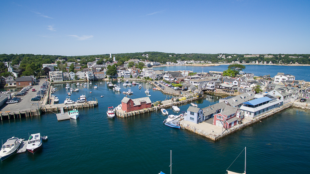 Aerial Rockport Harbor with Motif #1 Rockport Massachusetts