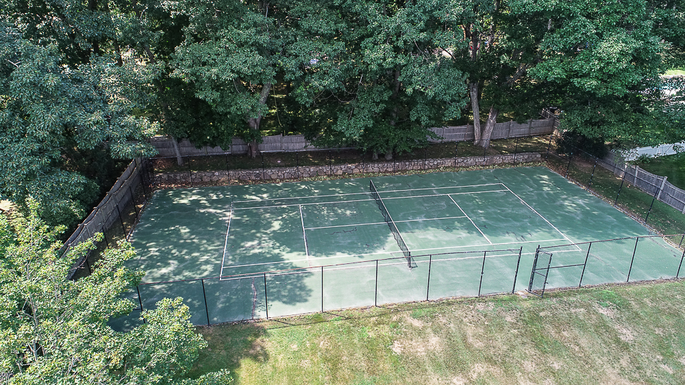 Aerial tennis court 10 Farrington Lane Hamilton Massachusetts