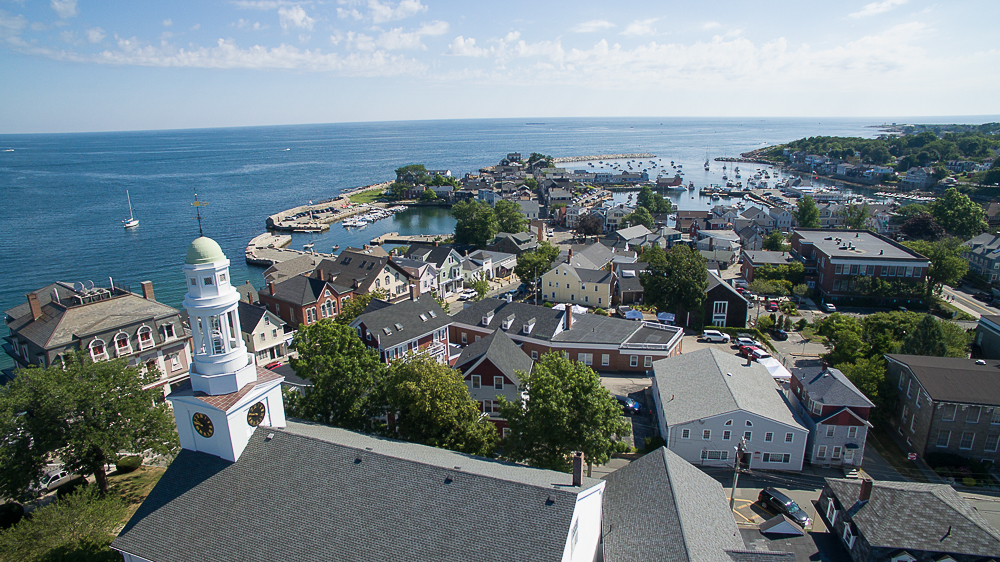 Aerial town of Rockport Massachusetts