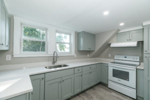 Kitchen with quartz counters at 38-C Arbor Street Wenham Massachusetts
