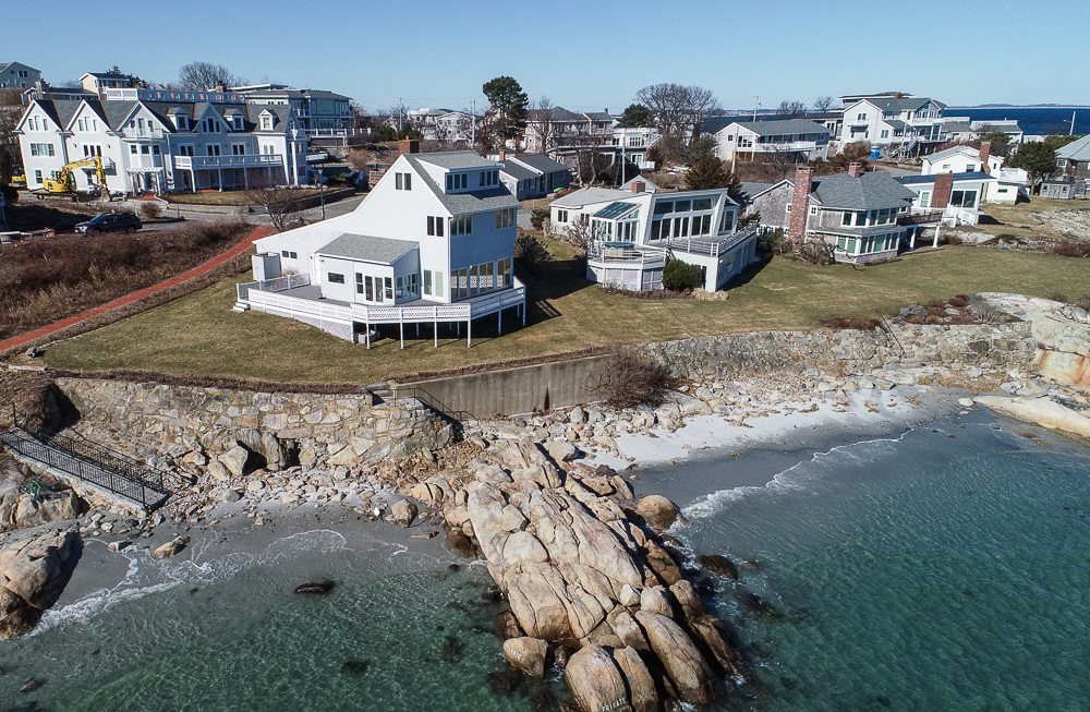 Drone Aerial photo beach and house 23 Wyoma Road Gloucester Massachusetts
