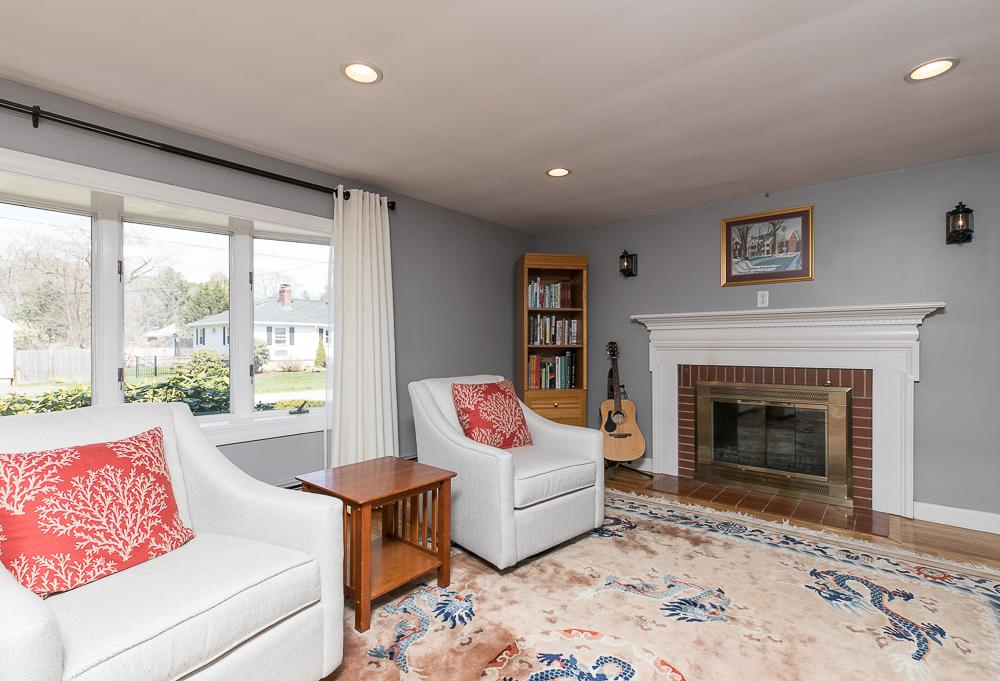 Fireplace in Living Room 9 Crescent Road Hamilton, Massachusetts