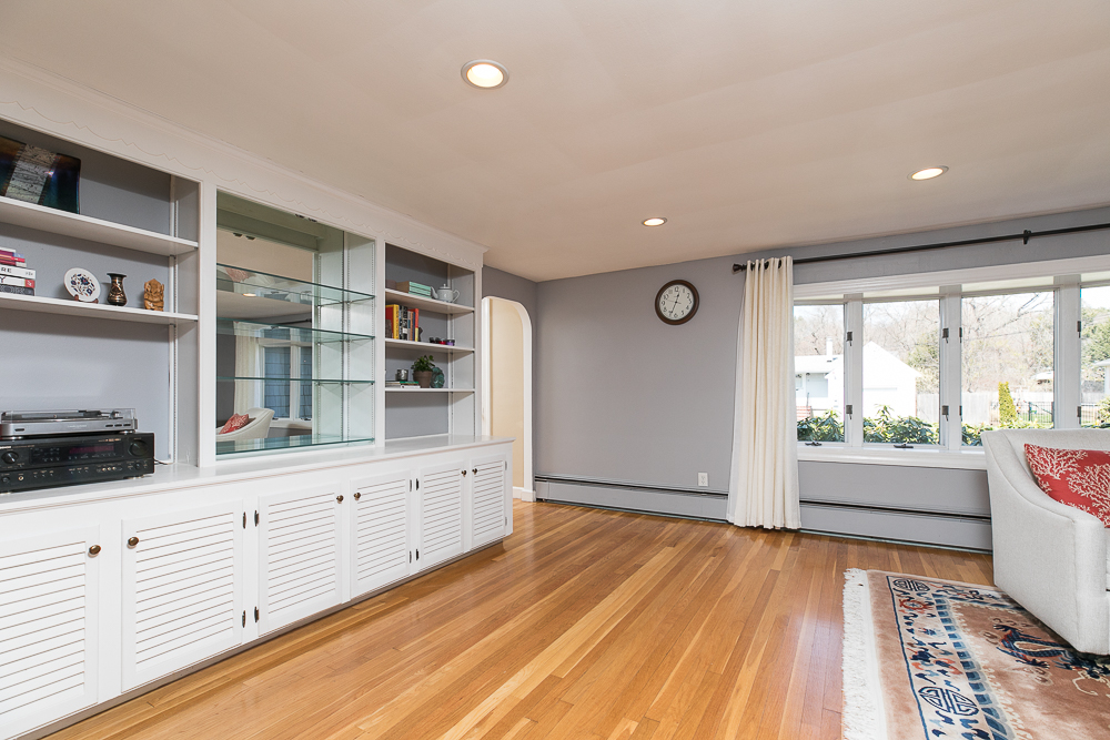 Living Room Built ins and hard wood floors 9 Crescent Road Hamilton, Massachusetts