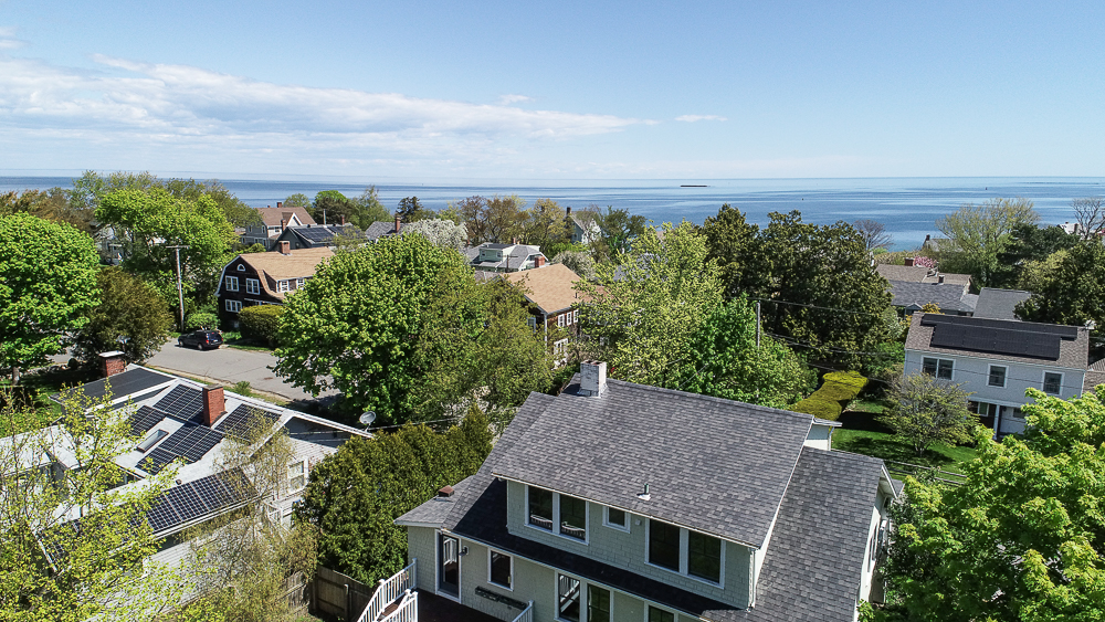 Aerial House and water 40 Atlantic Avenue Rockport Massachusetts