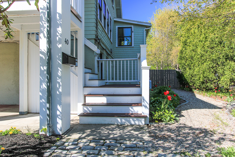 Stairway to the fornt porch 40 Atlantic Avenue Rockport Massachusetts
