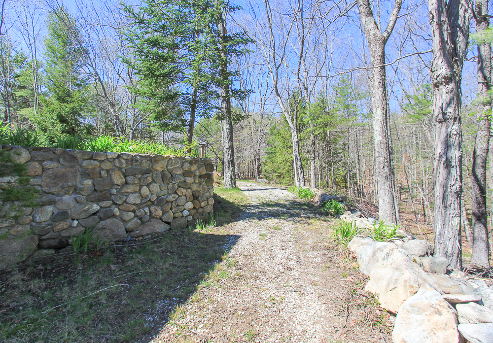 Stone wall along driveway 156 Middle Road Newbury Massachusetts
