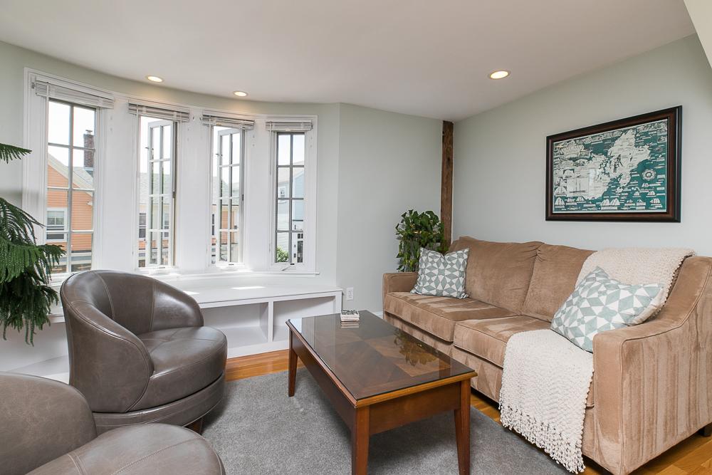 Living room in the penthouse 1 Main Street Rockport Massachusetts