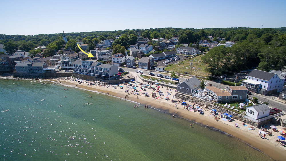 Aerial Front Beach Rockport MA Arrow pointing to 2 Beach Street Rockport Massachusetts