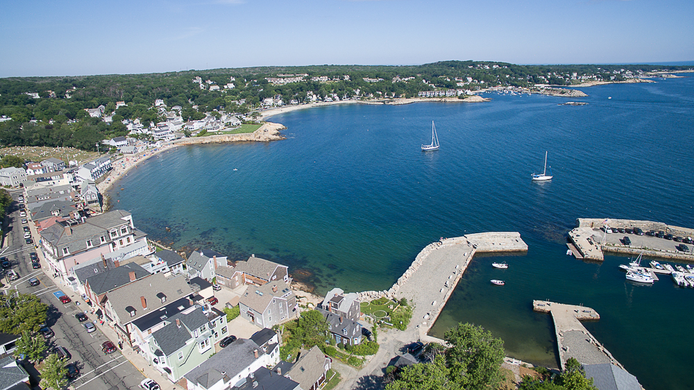 Aerial Front Beach and ocean Rockport MA