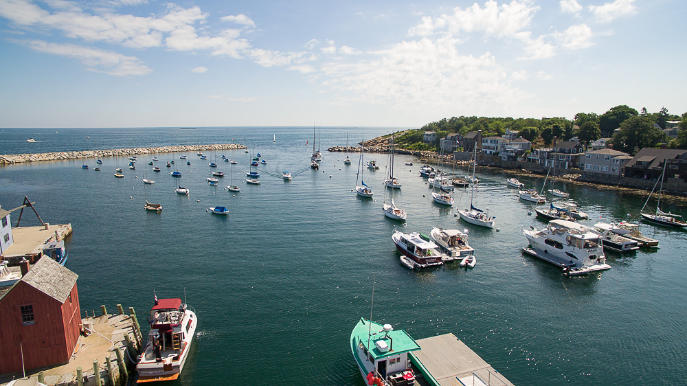Aerial Rockport Harbor looking out to ocean Rockport MA
