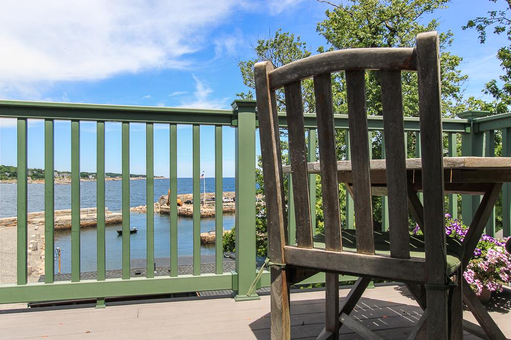 Deck Chair and views upper deck of penthouse 1 Main Street Rockport Massachusetts