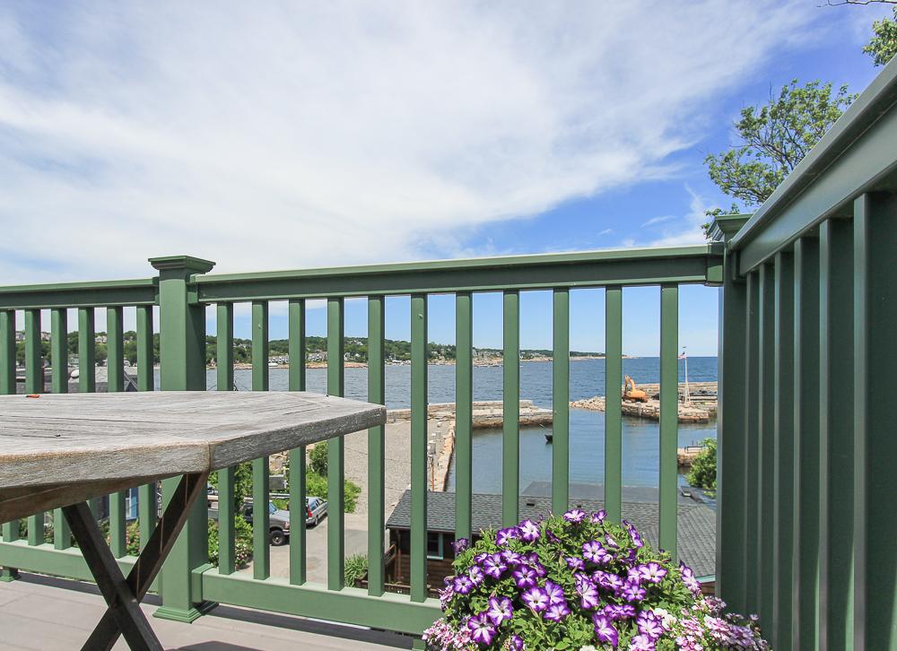 Deck rails upper deck of the penthouse 1 Main Street Rockport Massachusetts