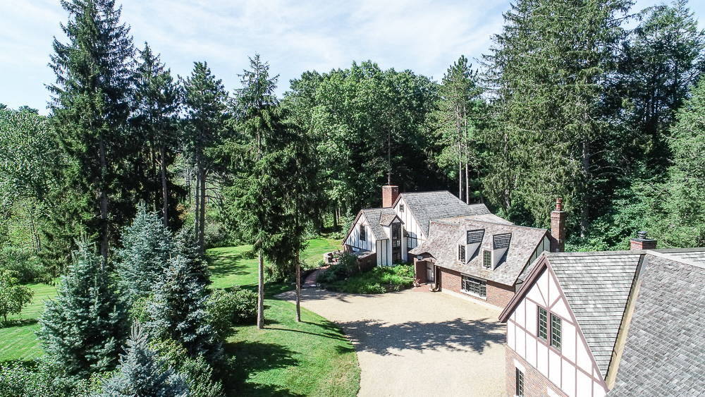 Aerial with garage in front 34 Cutler Road Hamilton Massachusetts